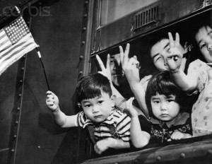 Japanese Americans in Route to Internment Camp